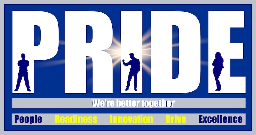 Graphic shows Robins PRIDE logo with Readiness, Innovation and Drive showcased to support the story.