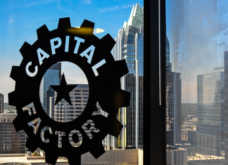 Logo of Capital Factory on window in Austin, Texas.