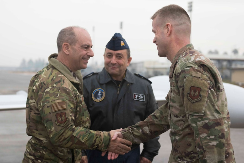 Gen. Jeff Harrigian, commander of United States Air Forces in Europe-Air Forces Africa, left, meets U.S. Air Force Col. Randy Oakland, 39th Air Base Wing commander, and Turkish air force Brig. Gen. Gürel Özusta, 10th Tanker Base commander, at Incirlik Air Base, Turkey, Jan. 30, 2020. Harrigian Visited Incirlik and met with commanders of various units. (U.S. Air Force photo by Staff Sgt. Joshua Magbanua)