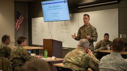 Brig. Gen. Richard R. Neely, Adjutant General, Illinois National Guard and Director of the Illinois Department of Military Affairs, addresses attendees at the Cyber Law course