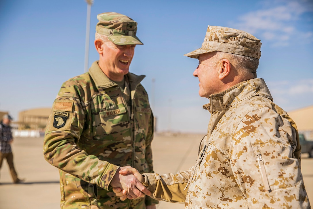 U.S. Marine Corps Gen. Kenneth F. McKenzie Jr., the commander of U.S. Central Command, right, shakes hands with U.S. Air Force Brig. Gen. John Walker, the commanding general of 378th Air Expeditionary Wing, Jan. 29, 2020. (U.S. Marine Corps photo by Sgt. Roderick Jacquote)