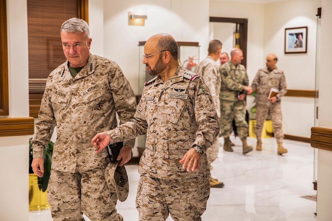 U.S. Marine Corps Gen. Kenneth F. McKenzie Jr., the commander of U.S. Central Command, left, meets with Gen. Fayyad Bin Hamed Al-Ruwaili, the military Chief of Staff of Saudi Arabia, Jan. 28, 2020. (U.S. Marine Corps photo by Sgt. Roderick Jacquote)