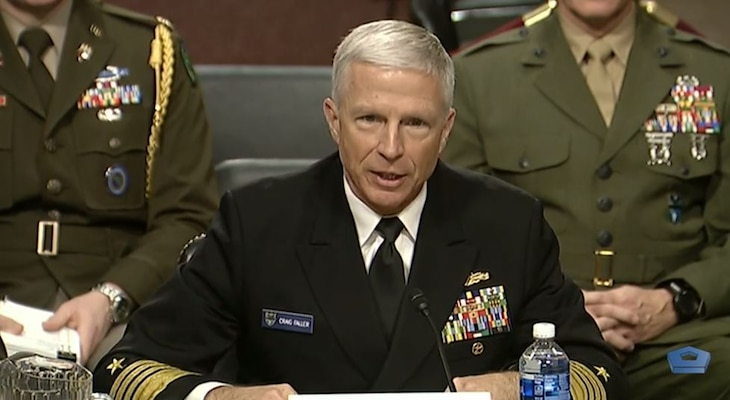 Broadcast screenshot of Navy Adm. Craig S. Faller, U.S. Southern Command commander, speaking before the Senate Armed Services Committee.
