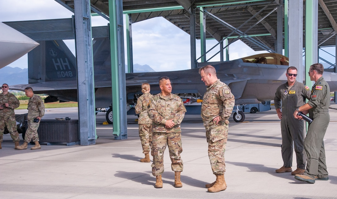 The Adjutant General of Hawaii, Maj. Gen. Kenneth S. Hara, visited Joint Base Pearl Harbor-Hickam during Sentry Aloha exercise training, Jan. 21, 2020. During his visit, Hara was given a tour of the Hawaiian F-22 Raptor facility.