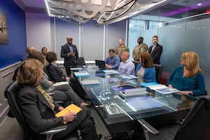 The Air Education and Training Command, Air University, and the 42nd Air Base Wing command team spouses attend a discussion led by retired Brig. Gen. Trent Edwards at MGMWERX, Jan. 29, 2020 in Montgomery, Alabama. The group discussed partnerships between the local community, Air University and the 42nd Air Base Wing to address quality of life issues for military members and their families such as public education, privatized housing and professional licensing reciprocity for military family members. (US Air Force photo by Cassandra Cornwell)