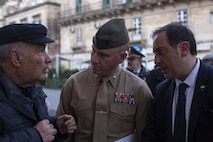Lt. Col. Daniel Rosenberg, center, commanding officer of the Logistic Combat Element of Special Purpose Marine Air-Ground Task Force - Crisis Response – Africa 20.1, Marine Forces Europe and Africa, speaks to a local resident during a community relations event in Modica, Italy, Jan. 27, 2020. SPMAGTF-CR-AF is deployed to conduct crisis-response and theater-security operations in Africa and promote regional stability by conducting military-to-military training exercises throughout Europe and Africa. (U.S. Marine Corps photo by Cpl. Nello Miele)