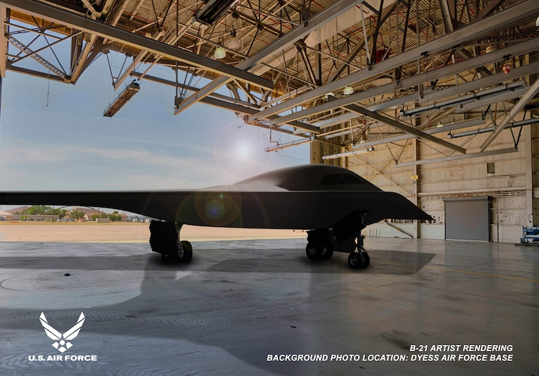 This is an artist rendering of a B-21 Raider concept in a hangar at Dyess Air Force Base, Texas. Dyess AFB is one of the bases expected to host the new airframe. (Courtesy graphic by Northrop Grumman)
