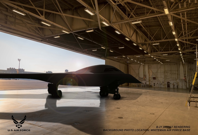 This is an artist rendering of a B-21 Raider concept in a hangar at Whiteman Air Force Base, Mo. Whiteman AFB is one of the bases expected to host the new airframe. (Courtesy graphic by Northrop Grumman)