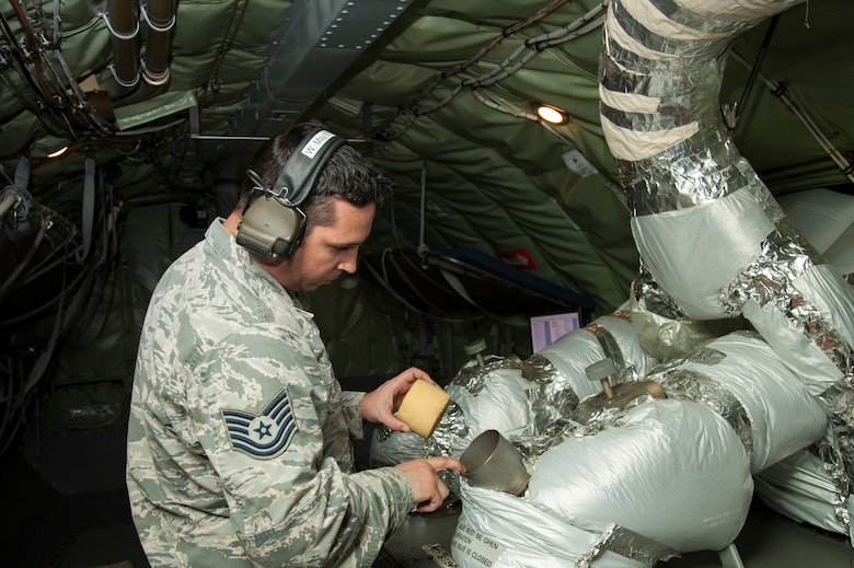 U.S. Air Force Tech. Sgt. Wesley May, a 6th Aircraft Maintenance Squadron aerospace propulsion specialist, inspects an auxiliary power unit on a KC-135 Stratotanker, Jan. 23, 2020, at MacDill Air Force Base, Fla. Aerospace propulsion Airmen are responsible for ensuring the proper operation of all aircraft engine components including fuel, oil, electrical and airflow systems.