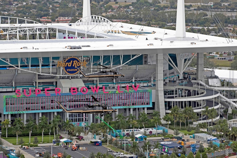 "An aerial view of Hard Rock Stadium in Miami as a helicopter flies past the ""Super Bowl LIV"" sign"