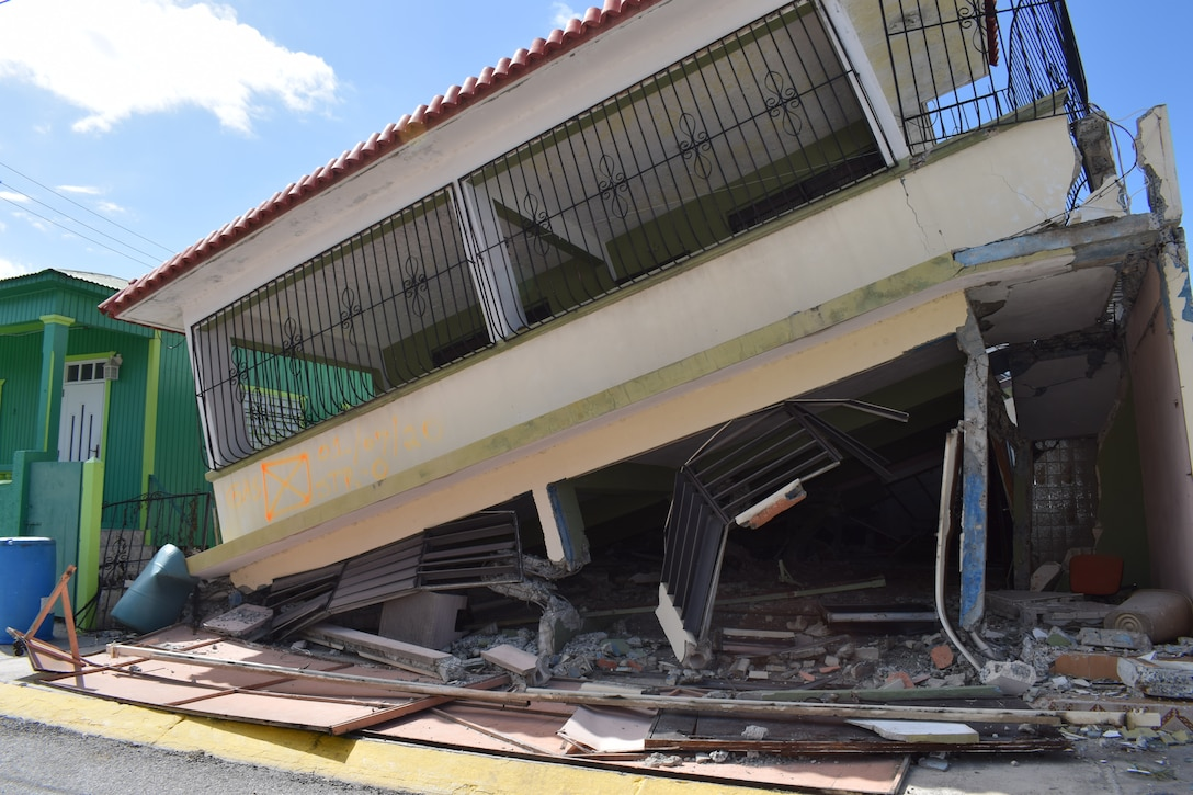 Damage to a residence in Guanica, Puerto Rico