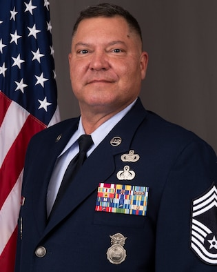 Chief Master Sgt. Gerald Babcock serves at the 166th Airlift Wing as the 166th Security Forces Squadron Manager. (U.S. Air National Guard photo by Staff Sgt. Katherine Miller)