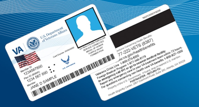 A depiction of the front and back of a Veterans Health Identification Card, or VHIC.
