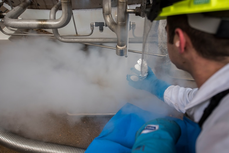 Airman 1st Class Daniel Sage, 27th Special Operations Logistics Readiness Squadron fuels facilities technician, prepares to get a sample of liquid oxygen to check for impurities at Cannon Air Force Base, New Mexico, Jan. 21, 2020. The samples are taken to ensure there are no impurities in the liquid oxygen. (U.S. Air Force photo by Senior Airman Vernon R. Walter III)