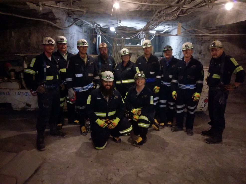A group of USACE employees take part in a tour of an underground mine at Mountain Laurel Mine.Mine.