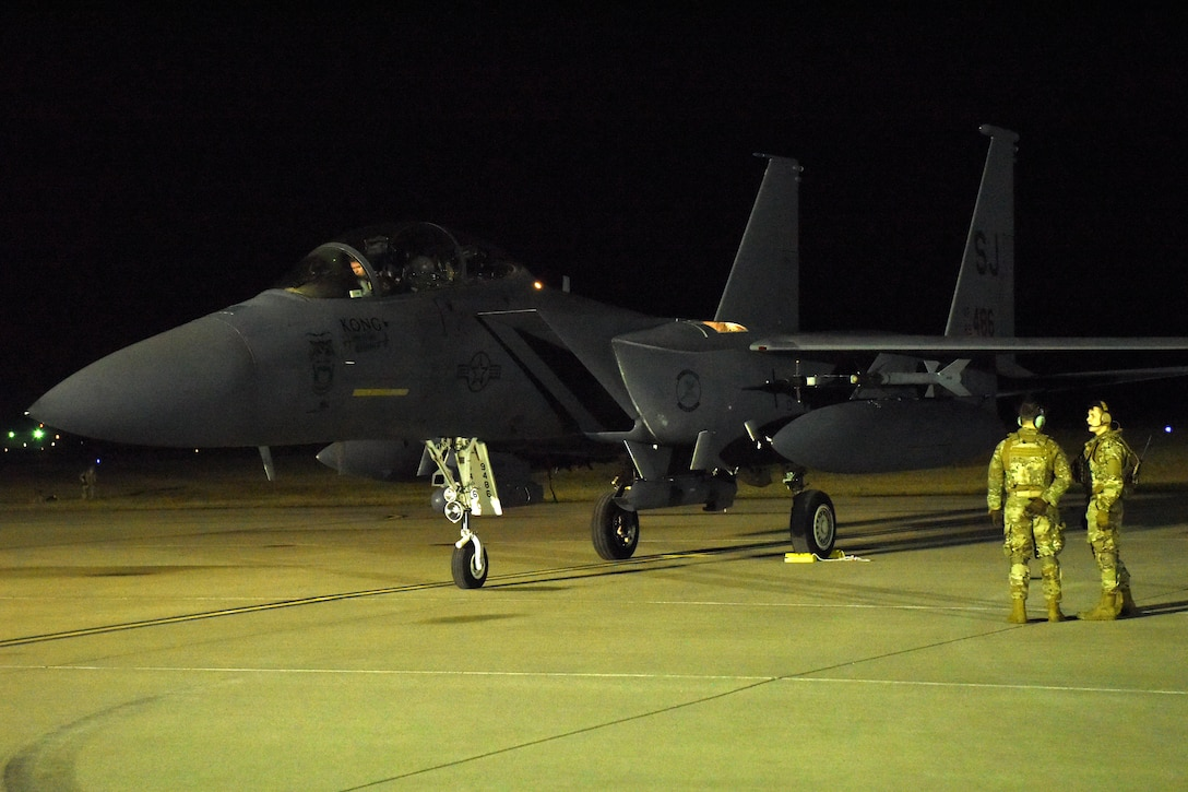 Multi-functional Airmen and F-15E Strike Eagle fighter jets from the 4th Fighter Wing at Seymour Johnson Air Force Base, N.C., execute integrated combat turns during the exercise.