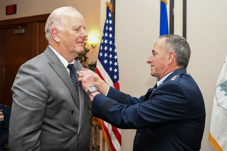 U.S. Air Force Chief of Staff Gen. David L. Goldfein inducts Mr. Kjell Bergh into the civic leader program during the Air Force Civic Leader Conference at Joint Base Andrews, Md., Jan. 30, 2020. The purpose of the program is to create and strengthen relationships between senior leaders, civic leaders and congressional leaders. (U.S. Air Force Photo by Airman 1st Class Spencer Slocum)