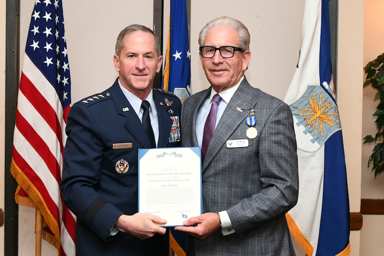 U.S. Air Force Chief of Staff Gen. David L. Goldfein presents the Distinguished Public Service Award to Dr. Joel Bloom during the Air Force Civic Leader Conference at Joint Base Andrews, Md., Jan. 30, 2020. The purpose of the conference was to arm and empower civic leaders and strategic perspective on key air and space force issues giving civic leaders the opportunity to better communicate with their spheres of influence. (U.S. Air Force Photo by Airman 1st Class Spencer Slocum