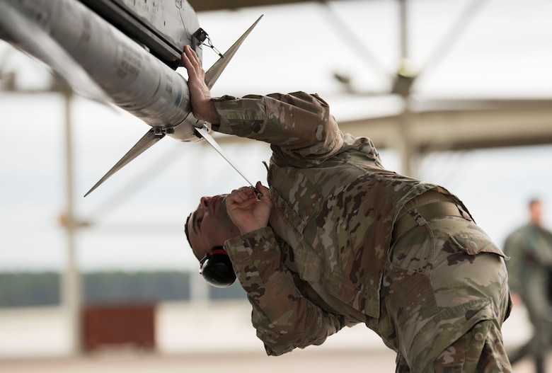 U.S. Air Force Tech. Sgt. Matthew Delpit, 57th Aircraft Maintenance Squadron weapons load crew chief, completes post-flight inspections at Shaw Air Force Base, South Carolina, Jan. 15, 2020.