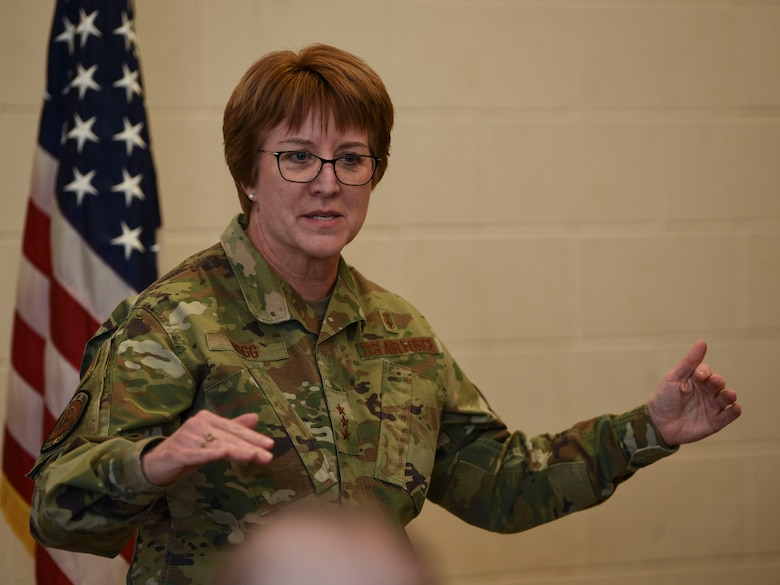 Lt. Gen. Dorothy A. Hogg, Air Force Surgeon General, briefs at an all-call during her visit to Grand Forks Air Force Base, N.D., Jan. 27, 2020. Hogg congratulated 319th Medical Group Airmen on their accomplishments, encouraged them to make suggestions for better procedures and to continuously challenge themselves to become better medical professionals. (U.S. Air Force photo by Senior Airman Melody Howley)