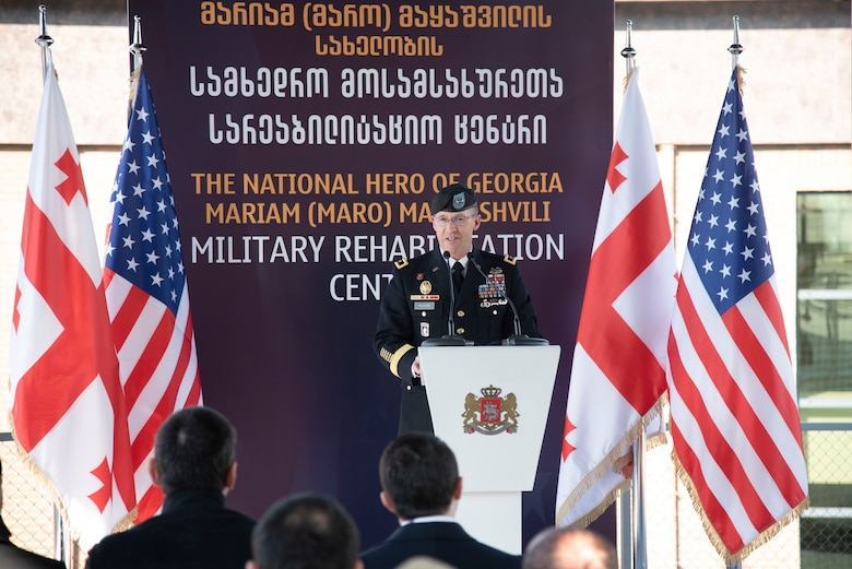 North Atlantic Division Commander Maj. Gen. Milhorn delivers remarks during a ribbon cutting ceremony Jan. 27 for Wounded Warrior and Rehabilitation Center for Georgian soldiers in Tserovani, Georgia. (U.S. Army photo by Chris Augsburger)