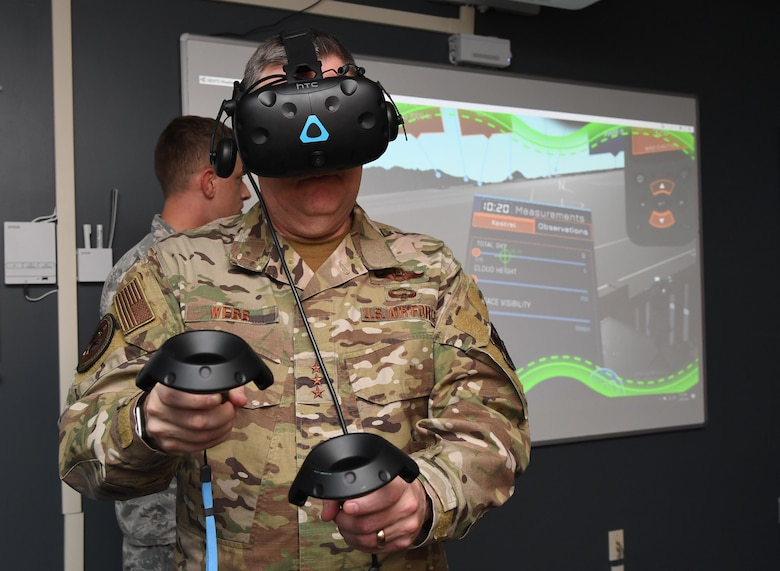 U.S. Air Force Lt. Gen. Brad Webb, commander of Air Education and Training Command, participates in a 335th Training Squadron weather course virtual reality demonstration during an immersion tour inside the Joint Weather Training Facility at Keesler Air Force Base, Mississippi, Jan. 30, 2020. The AETC command team visited Keesler in order to become more familiar with the mission capabilities of the 81st Training Wing and to view the paradigm shift occurring in the training environment within the 81st Training Group. (U.S. Air Force photo by Kemberly Groue)