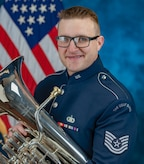 Official photo of Technical Sgt. Chris McGinty, euphoniumist with the Ceremonial Brass, The United States Air Force Band, Joint Base Anacostia-Bolling, Washington, D.C.