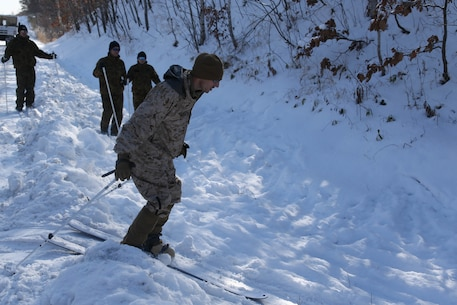 A U.S. Marine with 2nd Battalion, 3rd Marine Regiment, 3rd Marine Division, practices skiing at Hokkudaien Training Area, Hokkaido, Japan, Jan. 23, 2020. Northern Viper is a regularly scheduled training exercise that is designed to enhance the interoperability of the U.S. and Japan Alliance by allowing infantry units to maintain their lethality and proficiency in infantry and combined arms tactics. (U.S. Marine Corps Photo By Lance Cpl. Dylan Hess)