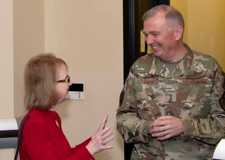 Innovator and strategic communicator Rhoda Weiss, president and founder of Rhoda Weiss Consulting Group, shares a laugh with Air Force District of Washington Commander Maj. Gen. Ricky N. Rupp during the Department of the Air Force Civic Leader Annual Conference. Key communicators and advocates for the Department of the Air Force gathered for the three-day event Jan. 28-30 to gain a strategic perspective on key Air and Space Forces issues. The conference is designed to create avenues for civic leaders to share best practices as partners and advisors with the service's senior leaders. (U.S. Air Force photo/Senior Airman Jalene A. Brooks)