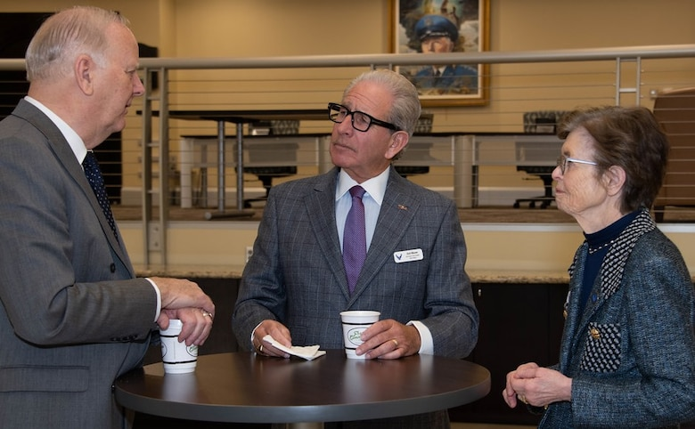 Kjell Bergh, Borton Volvo Cars and Borton Overseas chairman and chief executive officer; Dr. Joel Bloom, New Jersey Institute of Technology president; and Kay Yeager, Chairman of the Board of Commerce and Industry, Wichita Falls, Texas, and Sheppard Air Force Base Committee, chat during a break at the Department of the Air Force Civic Leader Annual Conference. Key communicators and advocates for the Department of the Air Force gathered for the three-day event Jan. 28-30 to gain a strategic perspective on key Air and Space Forces issues. The conference is designed to create avenues for the civic leaders to share best practices as partners and advisors with the service's senior leaders. (U.S. Air Force photo/Senior Airman Jalene A. Brooks)