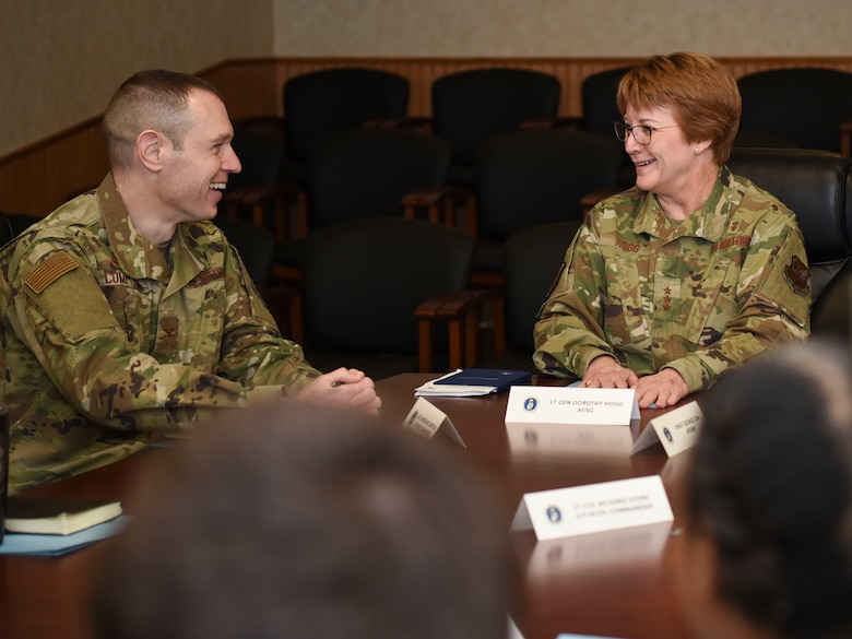 Col. Jonathon Compton, left, 319th Medical Group commander, and Lt. Gen. Dorothy A. Hogg, Air Force Surgeon General, discuss mission focus at Grand Forks Air Force Base, N.D., Jan. 27, 2020. Compton discussed 319th MDG mission priorities, day-to-day facility operations, and suggestions for training and facility improvements. (U.S. Air Force photo by Senior Airman Melody Howley)
