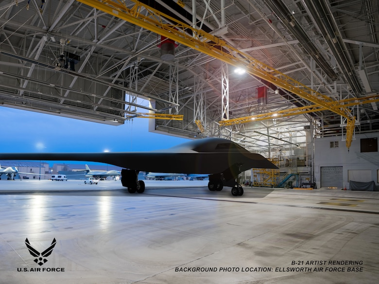 This is an artist rendering of a B-21 Raider concept in a hangar at Ellsworth Air Force Base, S.D. Ellsworth AFB is one of the bases expected to host the new airframe. (Courtesy graphic by Northrop Grumman)