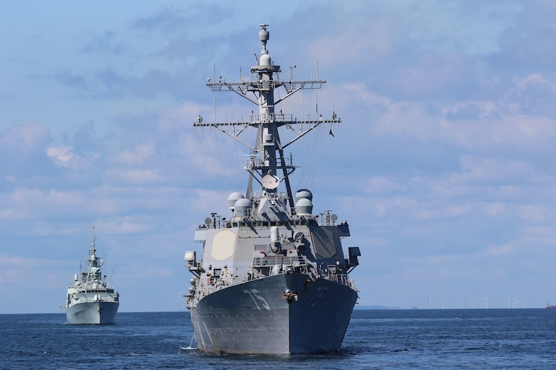 The guided-missile frigate USS Donald Cook (DDG 75) operates in the Baltic Sea during BALTOPS 2020, June 8, 2020.