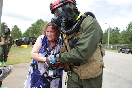 United States Marines and Sailors with Chemical Biological Incident Response Force (CBIRF) conduct training during Scarlett Response 2020 at Guardian Centers, Perry, Ga., from June 15 – 19, 2020. The purpose of Scarlett Response is to give CBIRF personnel realistic training scenarios in order to maintain the highest state of readiness, so if called upon CBIRF can provide expeditious and effective aid. (Marine Corps photo by SSgt. Kristian Karsten)