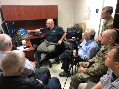 "Melding of the Minds - The ACI CSMO team hosts an informal High Frequency Communications seminar with four subject matter experts: Al Danis, John Rosica, Jon Bentley, and Rob ""Bob"" Melville. They conducted HF radio demonstrations and discussed antenna tuning research."
