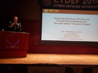 Col. Jeff Erickson, The Army Cyber Institute at West Point Chief of Staff, gives a keynote presentation on building #cyber resiliency of public and private infrastructure at Cyber Defense Workshop Halfway Across the World - (CYDEF) in Tokyo, Japan. The workshop brought together multi-national partners to address the theme of 'Assessing National Risk and Establishing Multi-Stakeholder Cooperation in Cyber Defense.
