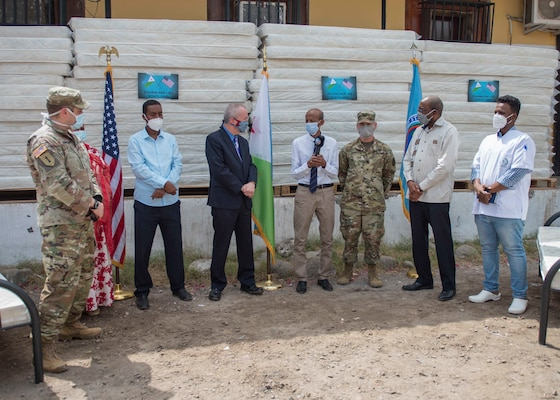 Dr. Saleh Banoita Tourab, executive secretary of the Djiboutian Ministry of Health, speaks during a ceremony at Bouffard Hospital in Djibouti City, Djibouti, June 25, 2020. Combined Joint Task Force-Horn of Africa (CJTF-HOA), donated 60 beds valued at $9,400 to the Djiboutian Ministry of Health for its efforts during the ongoing COVID-19 pandemic.
