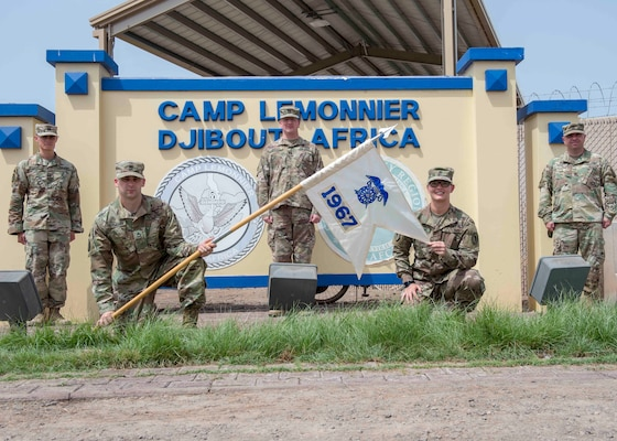Members of the Wisconsin National Guard's 1967th Contingency Contracting Team are serving at Combined Joint Task Force Horn of Africa, providing contracting support to U.S. forces in the region. Pictured, left to right: Capt. James Hedman, Sgt. 1st Class Curtis Clements, Capt. Gary Brown, Sgt. Brookelyn Nelson and Master Sgt. Zachary Tevis.