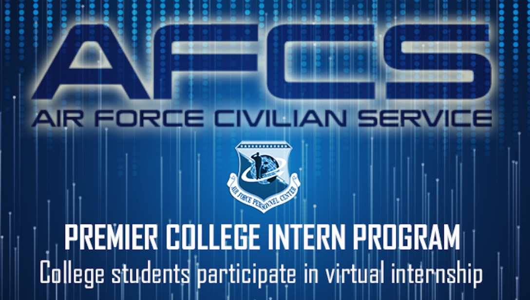 "Blue graphic with Air Force's Personnel Center shield and large text across the top reading, ""AFCS"""