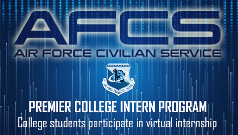 """Blue graphic with Air Force's Personnel Center shield and large text across the top reading, """"AFCS"""""""