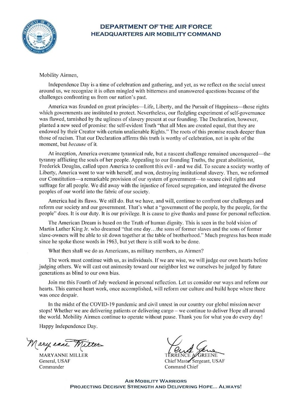 Independence Day message from General Maryanne Miller, Air Mobility Command Commander.