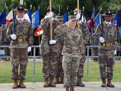 Col. Shannon Shaw assumed command of the Medical Professional Training Brigade July 16, 2019 at Joint Base San Antonio-Fort Sam Houston. Command Sgt. Maj. Jennifer Redding is seen behind the soldier color guard.