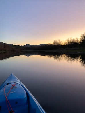 Airman 1st Class Brooke Moeder, 56th Fighter Wing Public Affairs photojournalist, kayaks on the Salt River Feb. 8, 2020, in Phoenix, Ariz.