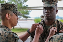 Congratulations to Sgt Adrian Hogan on becoming a Sergeant of Marines! Sgt Hogan's dedication and resiliency reflects the depth of his character and exemplifies what it means to be a Sergeant in the U.S. Marine Corps. Semper Fi Marine! (U.S. Marine Corps Photo by Sgt. Parker R. Golz)