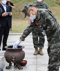 """The Commander of U.S. Marine Corps Forces Korea, MajGen Bradley S. James, attended the 69th anniversary of the Dosol Mountain Victory Event, 19 June. U.S. and ROK Marines fought together during this battle in the Korean War and forged an enduring brotherhood that lasts to this day. After the battle, then President of the Republic of Korea, Syngman Rhee, bestowed the name """"Mujuk"""" on the Marines, which means invincible. (U.S. Marine Corps Photo by Sgt. Parker R. Golz)"""