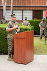Col. Patrick M. Tucker delivers remarks during the deactivation ceremony of Combat Logistics Regiment 15, 1st Marine Logistics Group, on Camp Pendleton, California, July 1, 2020. Tucker was the last commanding officer for CLR 15. CLR 15 was deactivated to meet the intent of the 38th Commandant of the Marine Corps' Commandant's Planning Guidance. CLR 15's mission will be continued by 1st Supply Battalion and 1st Maintenance Battalion in order to support the readiness of I Marine Expeditionary Force.(U.S. Marine Corps Photo by Sgt. Maximiliano Rosas)