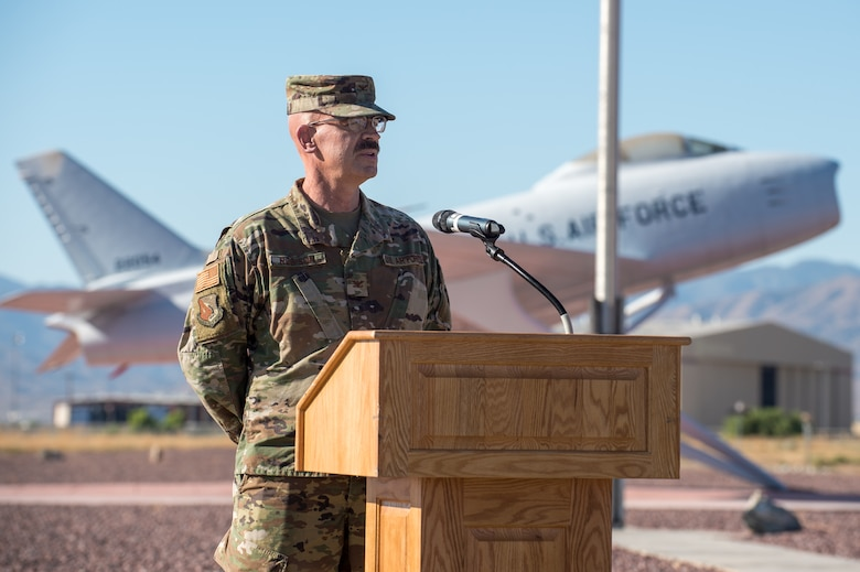Col. Dwayne Robison, the outgoing Operating Location Air Force Plant 42 Director, provides his remarks during a Change of Leadership Ceremony between Robison and Dr. David Smith at Plant 42, in Palmdale, California, July 1. (Air Force photo by Ethan Wagner)