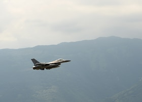 A U.S. Air Force F-16 Fighting Falcon from the 510th Fighter Squadron takes flight in support of Operation Porcupine at Aviano Air Base, Italy, June 30, 2020. Operation Porcupine is an annual exercise to train on inoperability within the 31st Fighter Wing units.  (U.S. Air Force photo by Staff Sgt. Heidi Goodsell)