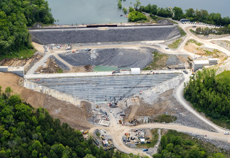 Aerial photo of the Center Hill Auxiliary Dam and roller compacted concrete berm in Silver Point, Tennessee, May 11, 2020. The RCC berm reinforces the auxiliary dam, a secondary earthen embankment that fills a low area in the landscape just east of the main dam. (Courtesy Asset)