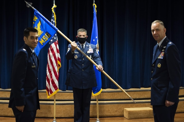 U.S. Air Force Col. Travis Edwards, the 6th Air Refueling Wing vice commander salutes Lt. Col. Ivan Blackwell, the 91st Air Refueling Squadron commander during a change of command ceremony, June 5, 2020, at MacDill Air Force Base, Fla